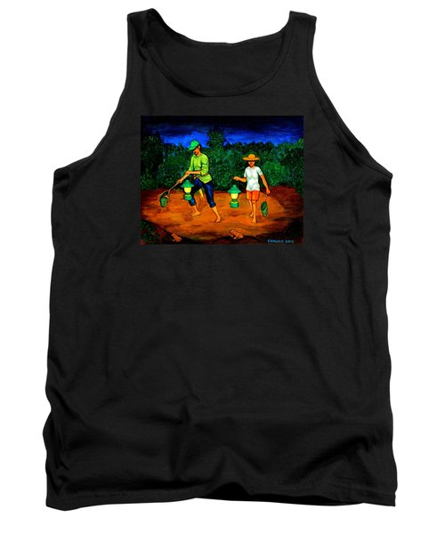 Tank Top featuring the painting Frog Hunters by Cyril Maza