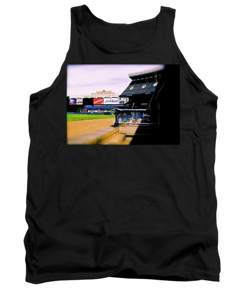 Tank Top featuring the photograph From The Dugout  The Yankee Stadium by Iconic Images Art Gallery David Pucciarelli