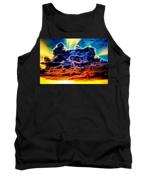 Funky Glowing Electrified Rainbow Clouds Abstract Tank Top