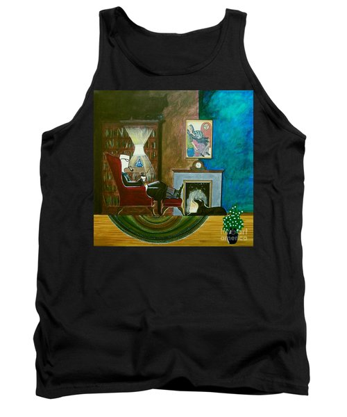 Gentleman Sitting In Wingback Chair Enjoying A Brandy Tank Top