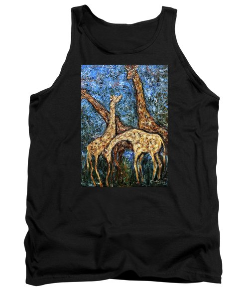 Tank Top featuring the painting Giraffe Family by Xueling Zou