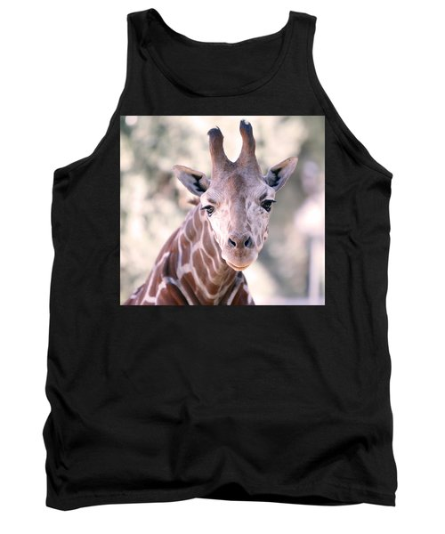 Tank Top featuring the pyrography Giraffe Staring  by Shoal Hollingsworth
