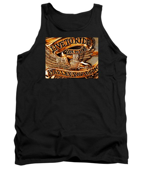 Golden Harley Davidson Logo Tank Top by Chris Berry
