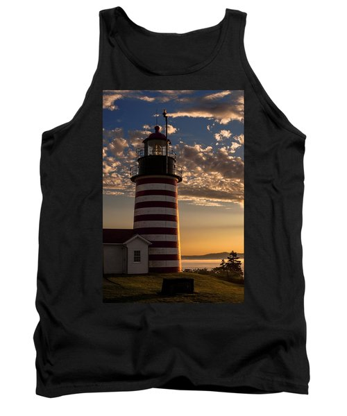 Good Morning West Quoddy Head Lighthouse Tank Top by Marty Saccone