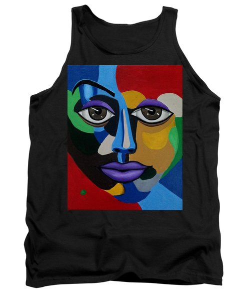 Colorful Illusion Abstract Face Art Painting, Big Brown Eye Art, Optical Artwork Tank Top