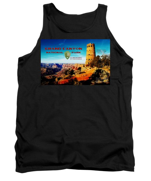Grand Canyon National Park Poster Desert View Watchtower Retro Future Tank Top