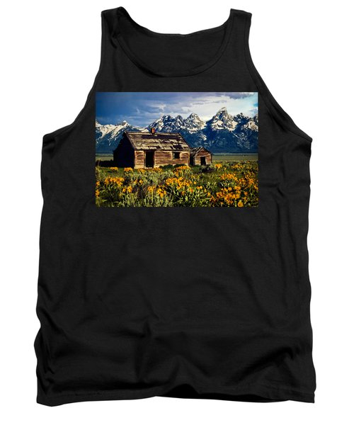 Tank Top featuring the photograph Grand Tetons Cabin by John Haldane