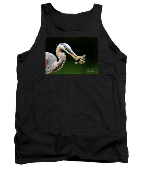 Great Blue Heron And The Catfish Tank Top by Kathy Baccari