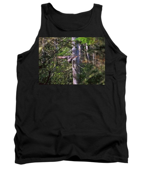 Tank Top featuring the photograph Great Grey Owl Pounces  by David Porteus