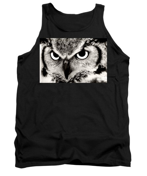 Great Horned Owl In Black And White Tank Top