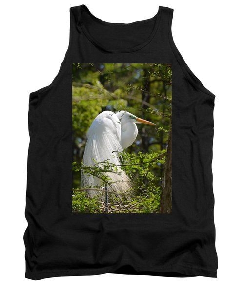 Great White Egret On Nest Tank Top