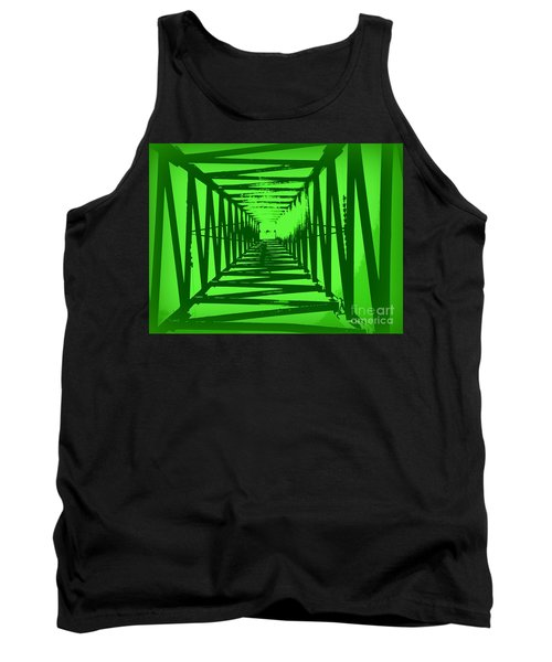 Green Perspective Tank Top by Clare Bevan