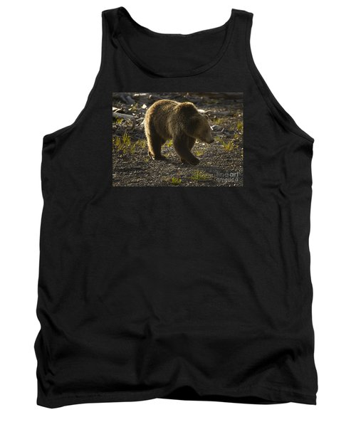 Grizzly Bear-signed-#4429 Tank Top by J L Woody Wooden