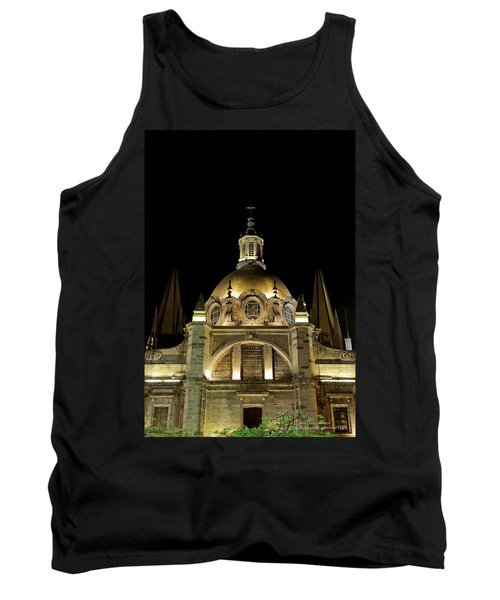 Tank Top featuring the photograph Guadalajara Cathedral At Night by David Perry Lawrence