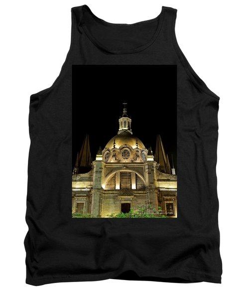 Guadalajara Cathedral At Night Tank Top by David Perry Lawrence