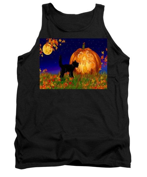 Halloween Black Cat Meets The Giant Pumpkin Tank Top