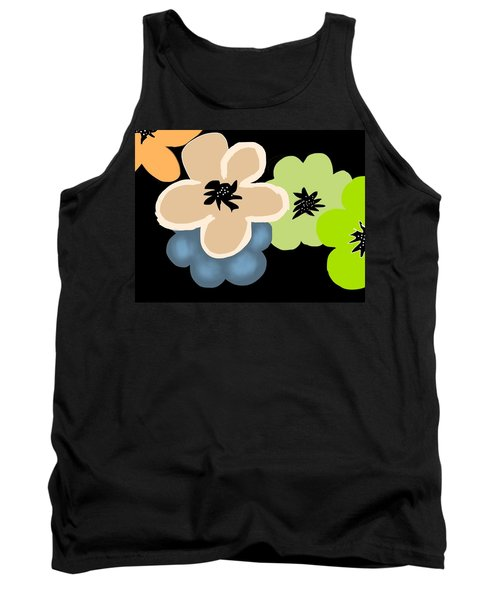 Tank Top featuring the digital art Happy Flowers Blue by Christine Fournier