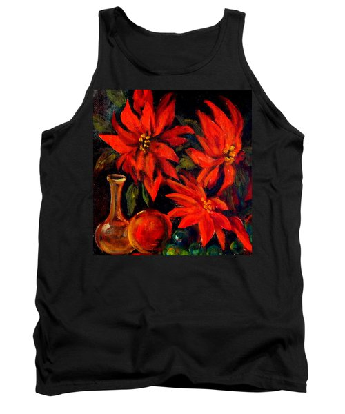 New Orleans Red Poinsettia Oil Painting Tank Top by Michael Hoard