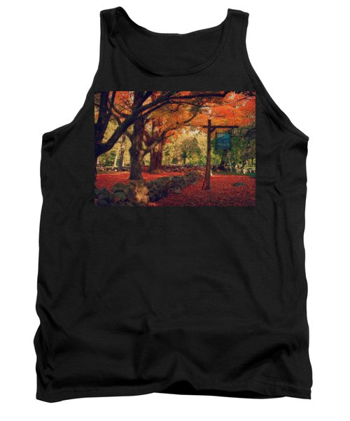 Tank Top featuring the photograph Hartwell Tavern Under Orange Fall Foliage by Jeff Folger