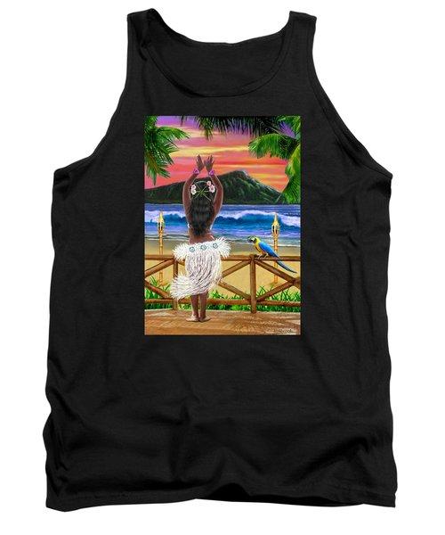 Hawaiian Sunset Hula Tank Top by Glenn Holbrook