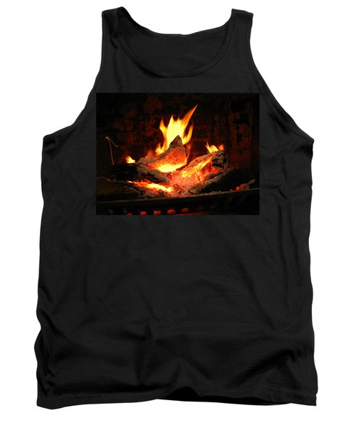 Heart-shaped Ember In Roaring Fire Tank Top by Connie Fox