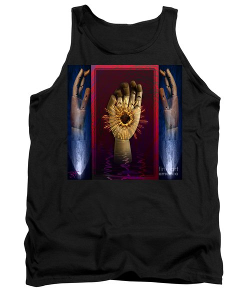 Tank Top featuring the digital art Hearted Hand by Rosa Cobos
