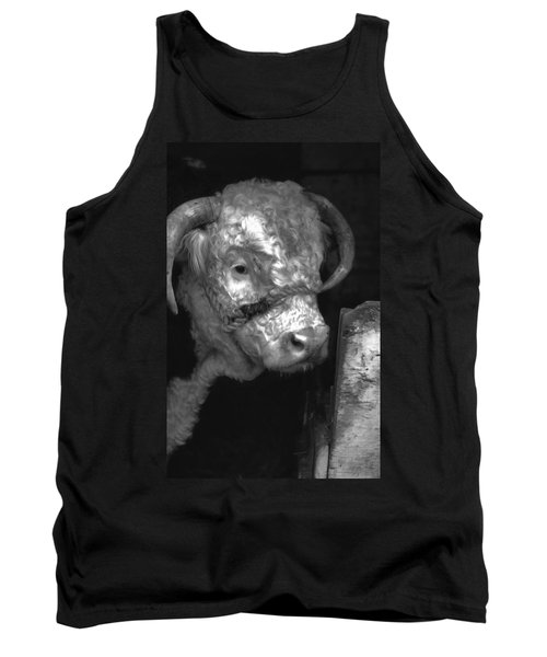 Hereford Bull In Black And White Tank Top