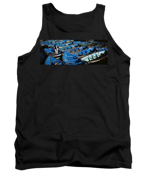 High Angle View Of Boats Docked Tank Top