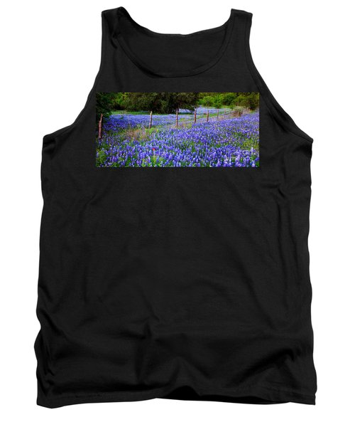 Hill Country Heaven - Texas Bluebonnets Wildflowers Landscape Fence Flowers Tank Top