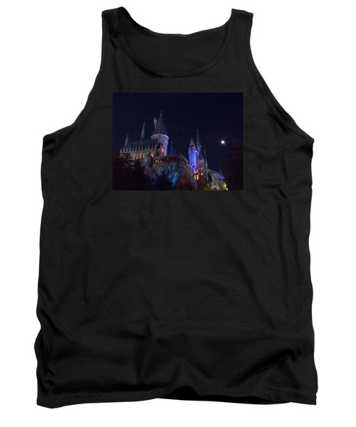 Hogwarts Castle At Night Tank Top by Kathy Long