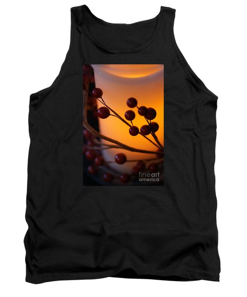 Tank Top featuring the photograph Holiday Warmth By Candlelight 1 by Linda Shafer