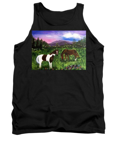 Tank Top featuring the painting Horses by Jamie Frier
