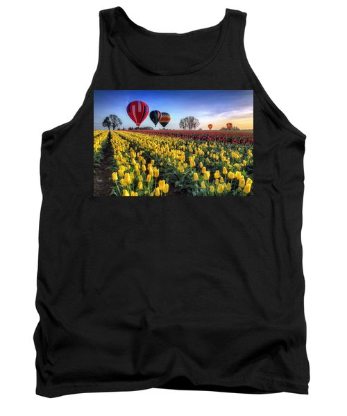 Tank Top featuring the photograph Hot Air Balloons Over Tulip Fields by William Lee
