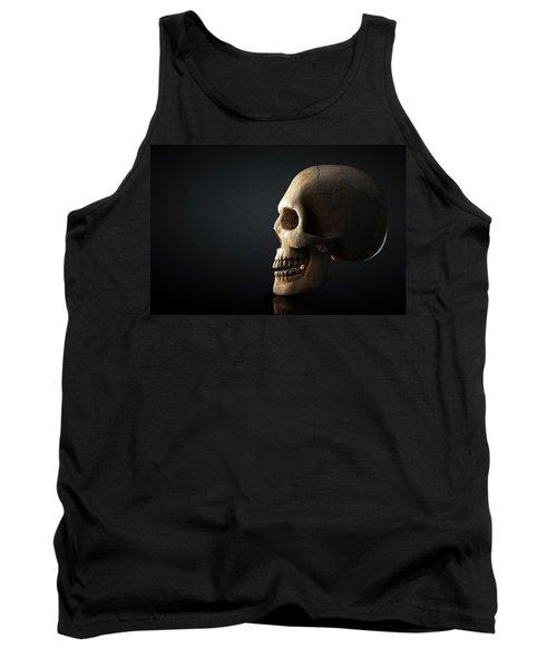Human Skull Profile On Dark Background Tank Top