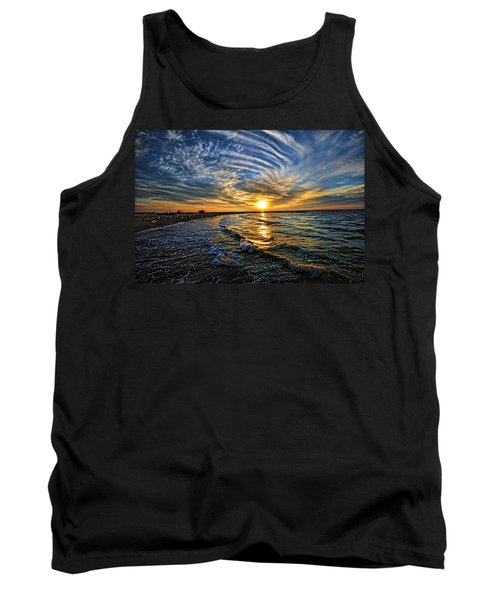 Tank Top featuring the photograph Hypnotic Sunset At Israel by Ron Shoshani