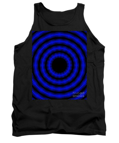 Tank Top featuring the painting In Circles- Blue Version by Roz Abellera Art