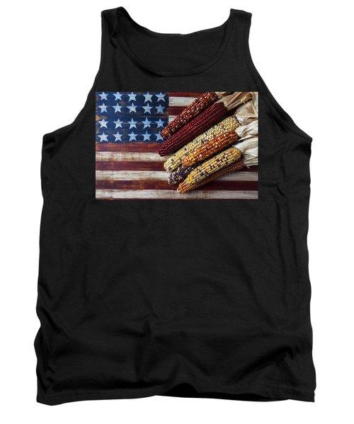 Indian Corn On American Flag Tank Top