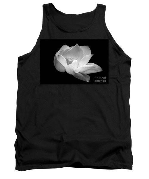 Indian Sacred Lotus In Black And White Tank Top