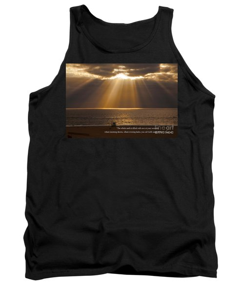 Inspirational Sun Rays Over Calm Ocean Clouds Bible Verse Photograph Tank Top by Jerry Cowart