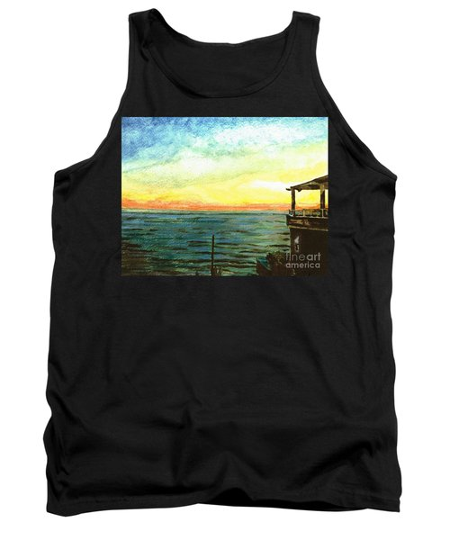 Tank Top featuring the painting Ionian Sea Zanti Greek Island by Teresa White