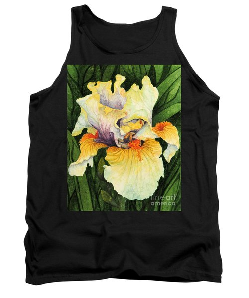Tank Top featuring the painting Iris Elegance by Barbara Jewell