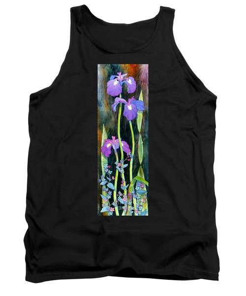 Tank Top featuring the painting Iris Tall And Slim by Teresa Ascone