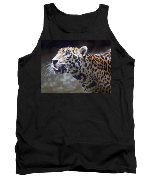 Tank Top featuring the photograph Jaguar Sticking Out Tongue by Shoal Hollingsworth
