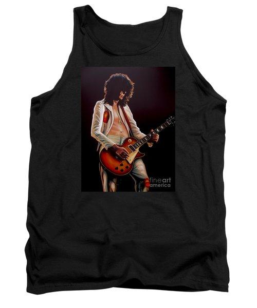 Jimmy Page In Led Zeppelin Painting Tank Top by Paul Meijering