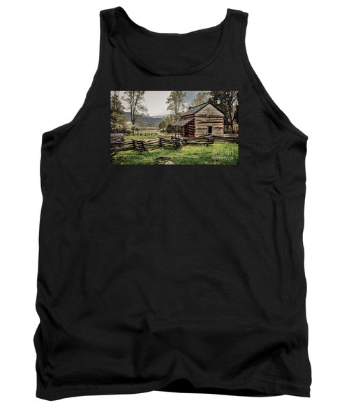 Tank Top featuring the photograph John Oliver's Cabin In Spring. by Debbie Green
