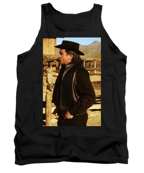 Tank Top featuring the photograph Johnny Cash Golden Gate Peak Old Tucson Arizona 1971 by David Lee Guss