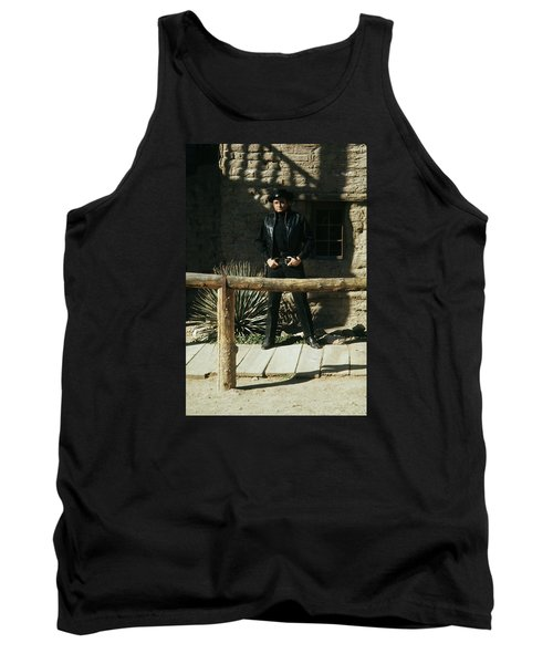 Tank Top featuring the photograph Johnny Cash Gunfighter Hitching Post Old Tucson Arizona 1971 by David Lee Guss