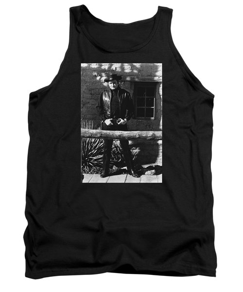 Tank Top featuring the photograph Johnny Cash Gunslinger Hitching Post Old Tucson Arizona 1971  by David Lee Guss