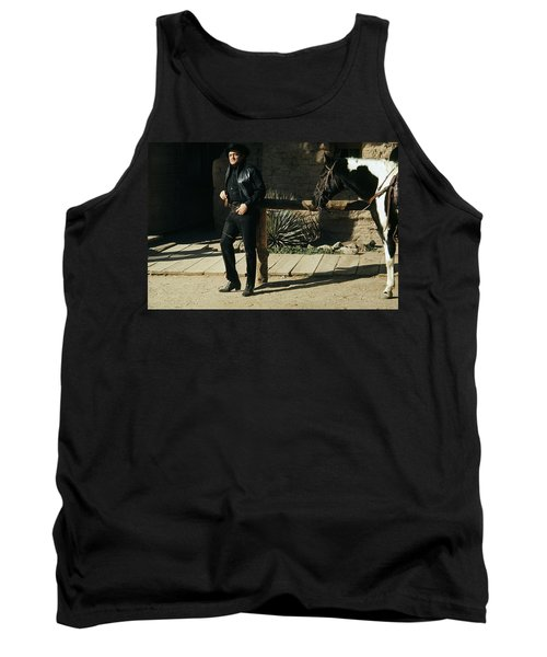Tank Top featuring the photograph Johnny Cash Horse Old Tucson Arizona 1971 by David Lee Guss