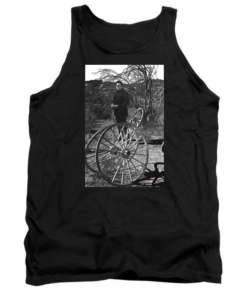 Tank Top featuring the photograph Johnny Cash  Meditating Wagon Wheel Graveyard Old Tucson Arizona 1971 by David Lee Guss